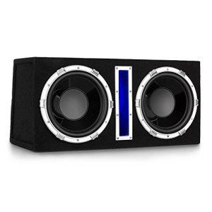 AUNA Basswaver 12L – Double subwoofer, Subwoofer HiFi pour Voiture, 2100 W, Caissons de Graves (12″) 2 x 30 cm, Bobine 3,8 cm, Entrée MP3, Actif, Noir