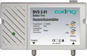 Axing BVS 2-01 Amplificateur domestique 25 dB câble TV, niveau ajustable (47-862 MHz)