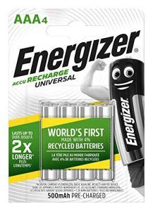 Energizer E301375700 NimH Lot de 4 Piles Rechargeables Micro 1,2 V 500 mAh Argenté