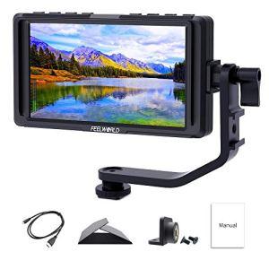 Feelworld F5 5 Pouces sur Caméra Moniteur DSLR Camera Field Monitor Small Full HD 1920×1080 IPS Video Peaking Focus Assist avec 4K HDMI 8.4V DC Input Output Inclure Tilt Arm