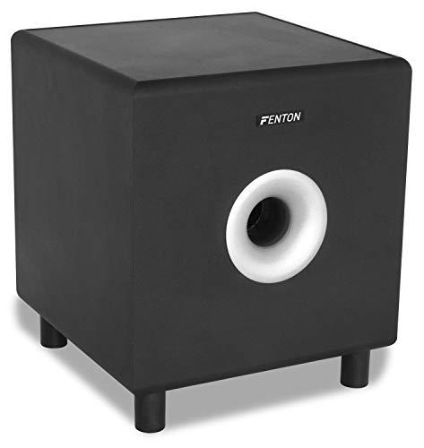 Fenton SHFS10B Caisson de Basse Amplifié 10″ Noir, 200W, Subwoofer Actif, 20 à 200 Hz, Bass-Reflex, Fréquence Crossover réglable, Caisson de Basse pour Home Cinéma ou HiFi