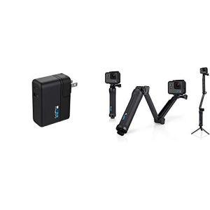 GoPro AWALC-002-EU Supercharger Chargeur Universel Double Port Noir & 3-Way Fixation 3-en-1 pour caméra embarquée GoPro