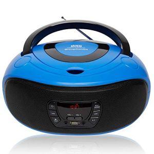 Grouptronics GTCD-501 Lecteur CD stéréo portable avec port USB, lecteur MP3 et entrée AUX pour smartphone et tablette, alimentation secteur ou batterie