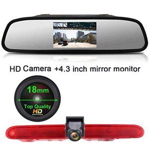 HD 1280*720 pixel Voiture Troisième Lampe Frein Vue arrière Caméra de recul Vision Nocturne+4.3″ LCD Rétroviseur pour Transporter Van Peugeot Partner 2 II Tepee Rifter Citroen Berlingo 3 III 4 IV B9