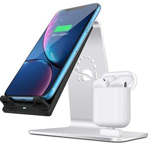HNKPWY Chargeur sans Fil Deux en Un pour Support de Bureau pour Casque Bluetooth pour téléphone Portable-Gris