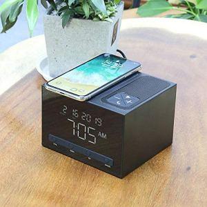 HNKPWY Horloge électronique carrée pour Haut-Parleur Bluetooth avec Chargeur sans Fil pour téléphone Portable 10W