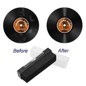 Kit de nettoyage de disque vinyle, brosse de nettoyage antistatique en velours avec détergent de nettoyage, outil de nettoyage des taches de poussière antistatique portable