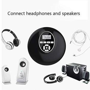 Lecteur De CD Personnel Portable, Lecteur Bluetooth Léger De Qualité Sonore HiFi Connexion Bluetooth pour L'apprentissage/Usage Domestique (Noir/Blanc),Noir