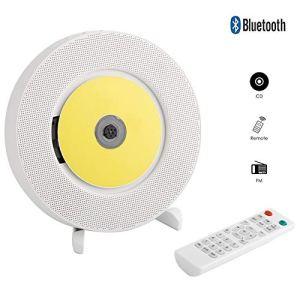 LHR Lecteur CD, Lecteur CD Bluetooth À Montage Mural, Version Améliorée du Haut-Parleur avec Haut-Parleur HiFi À Distance, Lecteur USB