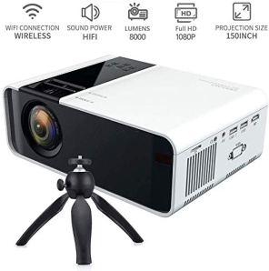 LILL WIFI Projecteur sans fil Android Bluetooth, 1080P Full HD, 150 pouces Affichage Hi-Fi Haut-parleurs 4k Multimédia Home Cinéma Miroir 3D