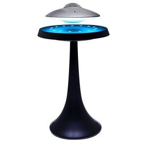 MagneticLand Enceinte en lévitation UFOSOUND Silver sur Pied Noir – LEDs Multicolores