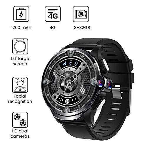 MROSW 1.6″ Double Caméras 3Go + 32Go GPS Intelligent Watch Phone 1260Mah Batterie Reconnaissance Faciale 4G WiFi Répondre À Un Appel De La Carte SIM TF