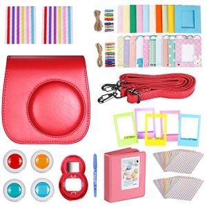 Neewer 10-en-1 Kit Accessoires Rouge pour Fujifilm Instax Mini 9 8+ 8 8s: Housse/Album/Objectif de Selfie / 4X Filtre de Couleur/ 5X Cadre sur Table/ 20x Cadre Suspendu sur Mur