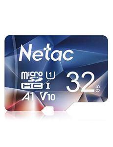 Netac Carte mémoire microSDHC, 32G Haute Vitesse UHS-I Carte Micro SD jusqu'à 90MB/S, A1, U1, C10, V10, FHD, 600X Carte TF pour Drone/Dash Cam/Camera/Phone/Nintendo-Switch/PC/Tablette