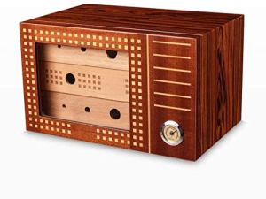 Peinture piano bois de cèdre Boîte à cigares en bois massif humidificateur grande capacité à trois couches de fumer boîte à cigares 2 couleurs humidificateur de boîte à cigaresc RVTYR (Color : B)