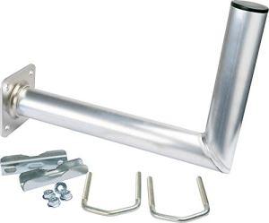 SCHWAIGER -5163- Support de balcon en aluminium | support pour antenne satellite | antenne SAT | système satellite | avec angle | également utilisable comme support mural | distance au mur 30 cm