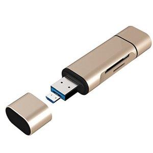 Sharplace Mini Carte Mémoire Universel Ordinateur Portable Accessorie 5 in 1 Micro USB Type C 3.0 Doré Informatique Accessoire