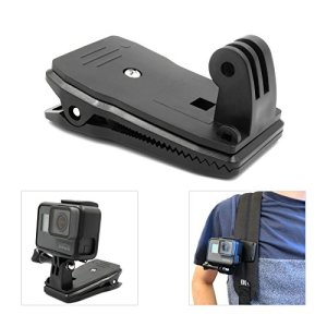 Support Caméra micros2u Clip Solide Pour Sac-A-Dos Compatible Avec Gopro. 360 Degrés. Attache Rapide Pour Bandoulière, Chapeau, Sac, Sac A Dos. Compatible avec Hero 8 7 6 5 4 3, Session Et Autres