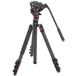 Support de trépied pour photographie, prise de vue panoramique en fibre de carbone 4 sections Support de trépied pliable en hauteur de 24 à 65,7 pouces avec rotule à 360 °, charge de 10kg/22lb
