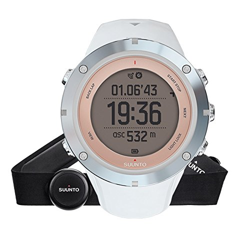 Suunto, AMBIT3 SPORT HR, Montre GPS Multisport pour femmes, 15h d'autonomie, Cardiofréquencemètre + Ceinture de poitrine (Taille : M), Étanchéité jusqu'à 50 m, Saphir, SS020672000