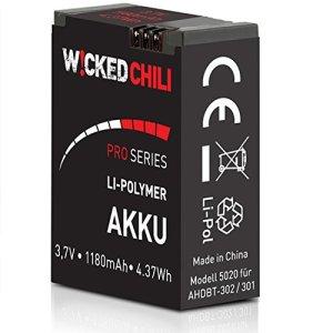 Wicked Chili Batterie pour goPro Hero 3/Hero 3 Black/White/Silver équivalent de aHDBT – 302 aHDBT – 301 (proSeries, 1180mA – 3,7 Volt – 4,37Wh de Batterie : Jusque 118 Min de vidéo)