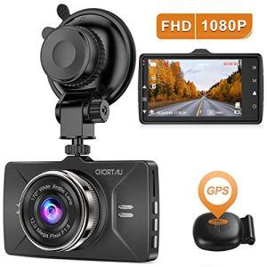 【2020 Nouvelle Version】 CHORTAU Dashcam Voiture GPS Full HD 1080P, Caméra Embarquée Voiture Grand Angle 170°, Écran 3 Pouces – Dash Cam avec Module GPS, Enregistrement en Boucle