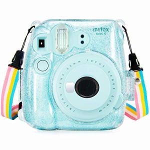 Anter Crystal Instax Mini 8 étui en PVC pour Fujifilm Instax Mini 8 Mini 8+ Mini 9 Appareil Photo instantané avec Sangle colorée Amovible (Transparent A)
