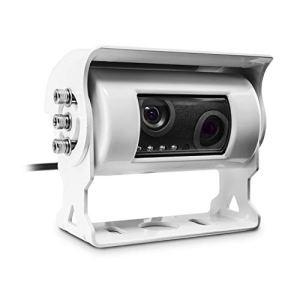 Carmedien Caméra de recul CM-DRFK3 Double cam Twin pour Camping-Car Dual rétroviseur numérique Caravan White