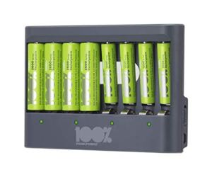 Chargeur de Piles AA et AAA 8 Slots avec Piles Rechargeables ni-mh AA 2300mah (Lot de 4) et AAA 800mah (Lot de 4)
