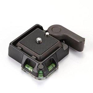 Fotga Plaque de Libération Rapide Adaptateur de Serrage tête sphérique avec Niveau pour trépied Monopod caméra caméscope Arca Benro compatible