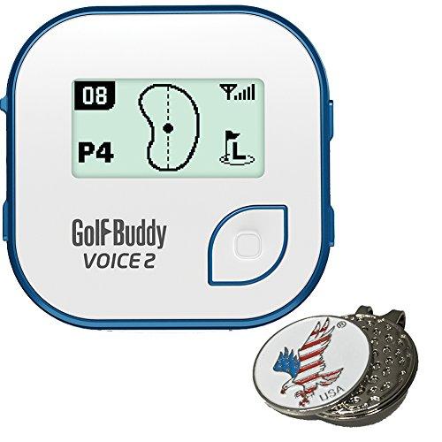 GolfBuddy Bundle: 2017Golf Buddy Voice 2, Bleu + Clip Chapeau et marqueur de Balle sur Mesure–American Eagle