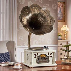 Haut-parleur Bluetooth Vintage rétro, Rétro corne platine disque vinyle vinyle tourne-disque platine cuivre trompette musique machine d'enregistrement machine phonographe vintage tourne-disque bluetoo