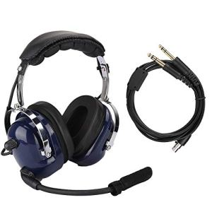 nobrands Casque d'aviation Universel, Casque Pilote à Double Prise, avec Interface de 3,5 mm Casque de réduction du Bruit pour Pilotes