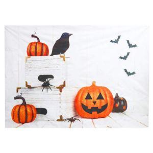 OSALADI Halloween Citrouille Toile de Fond Photographie Tissu Fond Tenture Murale Studio Citrouille Tapisserie Vinyle