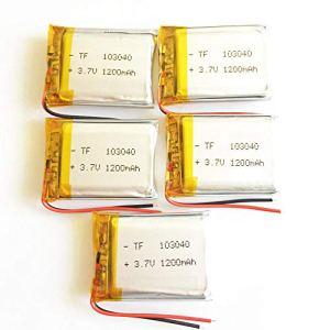 rpbll 5 pièces 3.7 V 1200 mAh lipo polymère Batterie Rechargeable au Lithium 103040 pour MP3 GPS navigateur enregistreur DVD Casque e-Book caméra