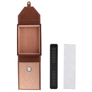 Stronerliou Mini Portable En Cuir Humidor Boîte À Cigares Cèdre Bois Cigarette Boîte De Rangement(marron)