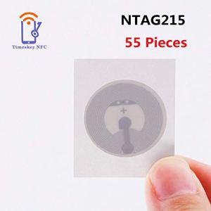 Timeskey NFC NFC Tag NXP NTAG215 Compatible avec Amiibo Sticker 1 * 1 in,504 Octets Mémoire,55 Pièces Idéal pour Appareils Coordonnées/NFC/Profil Commande