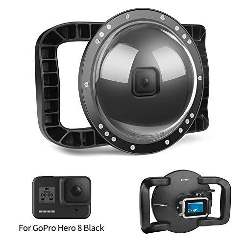 D&F Port dôme sous-marin pour GoPro Hero 8 Noir, Boîtier étanche Dome Port avec double poignée stabilisateur de poignée pour photographie de plongée