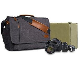 Estarer Sac Photo Bandoulière Sacoche Appareils Photo Reflex Numérique DSLR en Toile Vintage pour Nikon, Canon, Sony, Panasonic, Sigma, Tamron