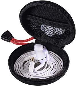 Hama Pochette pour écouteurs intra-auriculaires (étui rigide, pochette interne en maille, mousqueton, sac de protection pour bouchon d'oreille) Noir/Rouge