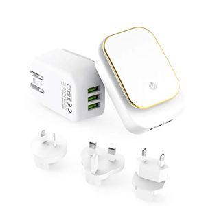 MeihuaTu Chargeur USB Secteur Universel 3 Ports avec Lampe Torche LED Secteur Mural Chargeur avec Adaptateur UK/AU/EU/US Compatible avec téléphones intelligents,Kindle,etc -Blanc