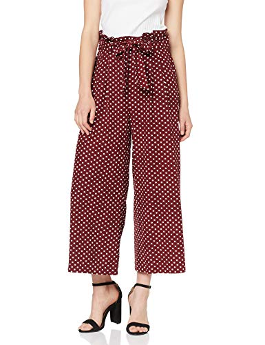 MISS SELFRIDGE Spotted Linen Paperbag Wide Leg Trousers Pantalon, Rouge (Red 010), 38 (Taille Fabricant: 10) Femme