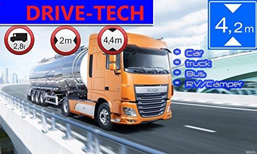 Navigateur pour camions camions (Camion), Voitures, Bus, WOHNMOBIL et Camper.Radarwarner, Mise à Jour Gratuite Carte Ganz Europe (47 Pays) Dangereux, Pare-Soleil Gratuit.