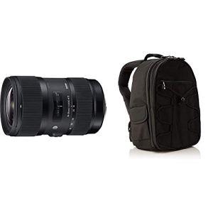 Sigma Objectif 18-35 mm F1,8 DC HSM Art – Monture Canon & AmazonBasics Sac à Dos pour Appareil Photo Reflex et Accessoires Noir
