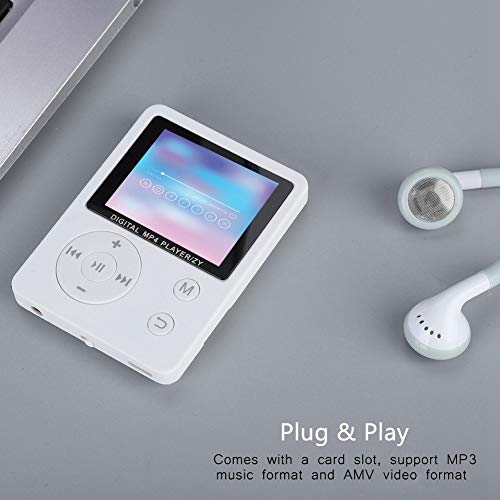 Weiyiroty Modes de Lecture Multiples MP4 léger, écran Couleur MP3 / MP4, Plug and Play pour la Musique, Radio, Enregistrement, vidéo, Livre électronique, chronomètre intégré(White)