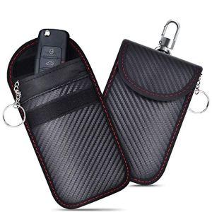 2PCS Etui Anti RFID Clé Voiture, Pochette Anti RFID pour Voiture Keyless, Pochette de Protection RFID Blocage Signal, Etui de Clé Anti RFID Pochette Clé de Voiture