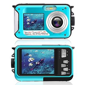 Appareil Photo Etanche HD 2.7K Camescope Numerique 24MP Caméra Rechargeable, Selfie Dual Screens Camescope Numérique pour Le Camping, sous l'eau, la Natation, caméra sous-Marine (Bleu)