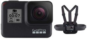 Chesty V2 – Fixation de poitrine pour l'action & GoPro HERO7 Black – Caméra numérique embarquée étanche avec écran tactilestabilisation intégrée