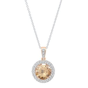 DazzlingRock Collection 14k Or Rose Rond Champagne I-J Champagne/Diamant Diamant Blanc