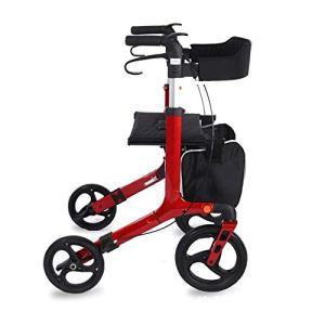 Fhxr Déambulateurs Standard Pliables Rouges à Quatre Roues,Senior Caddie, Acheter de la Nourriture, Scooter à Quatre Roues en Aluminium Déambulateurs à Roues et rollators (Color : Red)